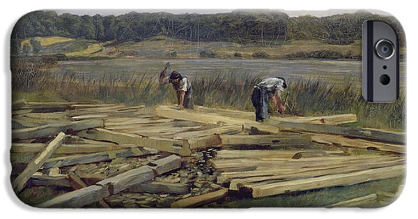 Labour iPhone Cases - Building Site At Wesslingersee, 1876 Oil On Canvas iPhone Case by Heinrich Wilhelm Truebner