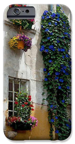 Arles iPhone Cases - Building With Flower Pots On Each iPhone Case by Panoramic Images