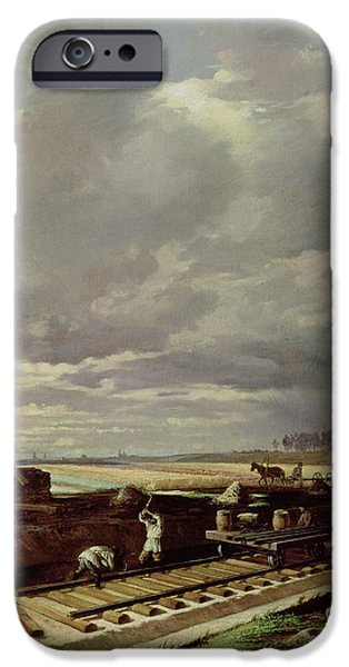 Agriculture iPhone Cases - Building Work On A Railway Line, 1871 Oil On Canvas iPhone Case by Vasili Vladimirovits Pukirev