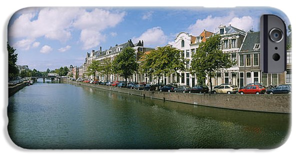 Reflections Of Sky In Water iPhone Cases - Buildings Along A Canal, Haarlem iPhone Case by Panoramic Images