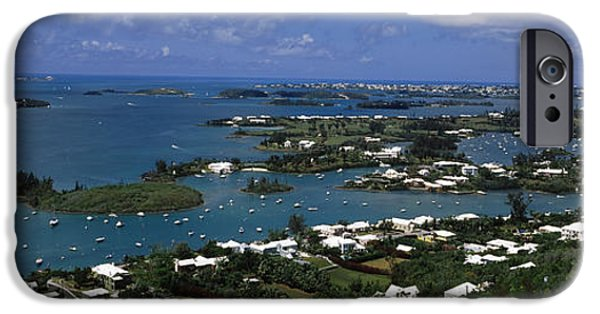 Built Structure iPhone Cases - Buildings Along A Coastline, Bermuda iPhone Case by Panoramic Images