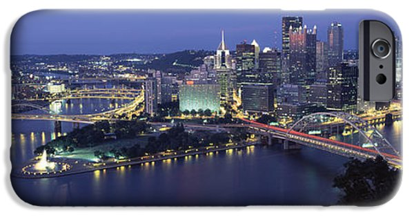 Allegheny iPhone Cases - Buildings Along A River Lit Up At Dusk iPhone Case by Panoramic Images