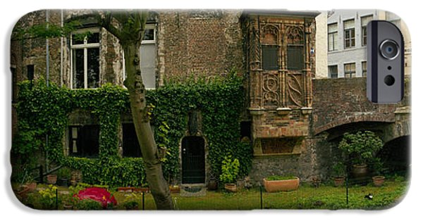 Built Structure iPhone Cases - Buildings Along Channel, Bruges, West iPhone Case by Panoramic Images