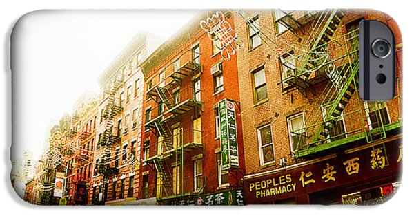 Escape iPhone Cases - Buildings Along The Street, Chinatown iPhone Case by Panoramic Images