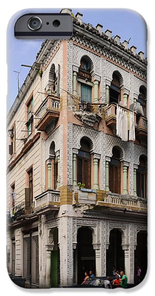Balcony iPhone Cases - Buildings Along The Street, Havana, Cuba iPhone Case by Panoramic Images