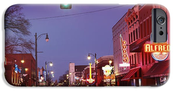 Sign iPhone Cases - Buildings Along The Street Lit iPhone Case by Panoramic Images