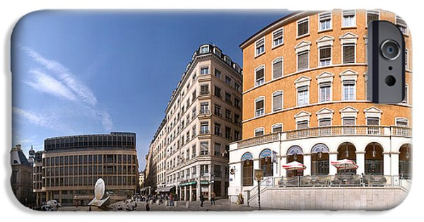 Rhone Alpes iPhone Cases - Buildings At Place Louis Pradel, Lyon iPhone Case by Panoramic Images
