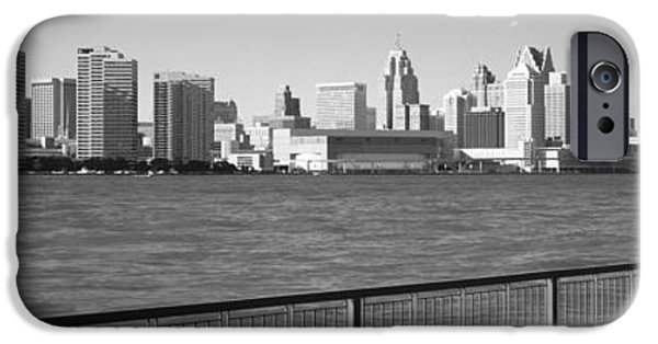 Built Structure iPhone Cases - Buildings At The Waterfront, Detroit iPhone Case by Panoramic Images