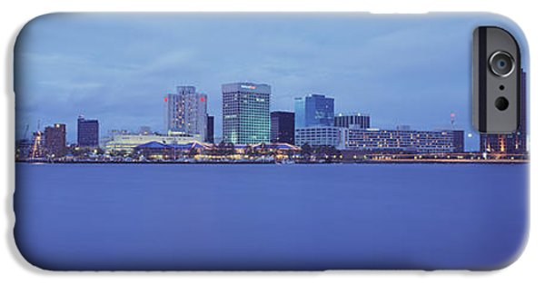 Built Structure iPhone Cases - Buildings At The Waterfront, Norfolk iPhone Case by Panoramic Images