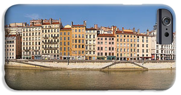 Rhone Alpes iPhone Cases - Buildings At The Waterfront, Saone iPhone Case by Panoramic Images