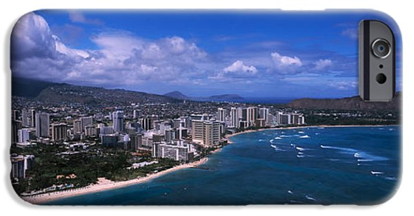 Built Structure iPhone Cases - Buildings At The Waterfront, Waikiki iPhone Case by Panoramic Images