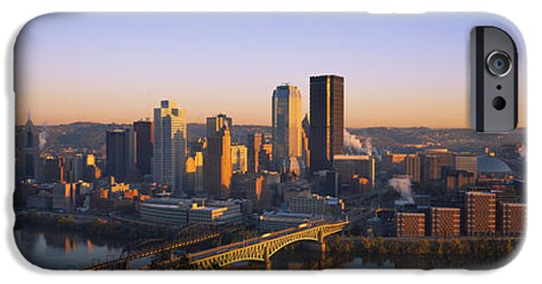 Connection iPhone Cases - Buildings In A City At Dawn iPhone Case by Panoramic Images