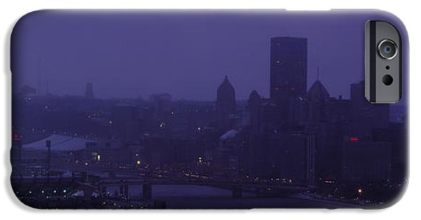 Heinz iPhone Cases - Buildings In A City, Heinz Field, Three iPhone Case by Panoramic Images