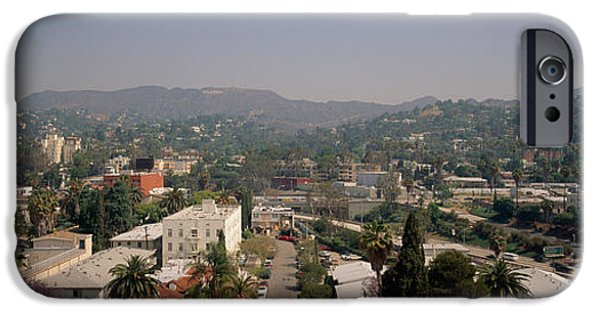 Road Travel iPhone Cases - Buildings In A City, Hollywood, City iPhone Case by Panoramic Images