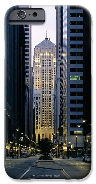 Board iPhone Cases - Buildings In A City, Lasalle Street iPhone Case by Panoramic Images