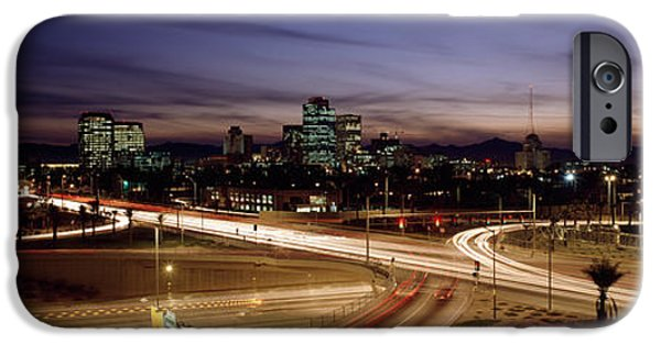 7th iPhone Cases - Buildings In A City Lit Up At Dusk, 7th iPhone Case by Panoramic Images