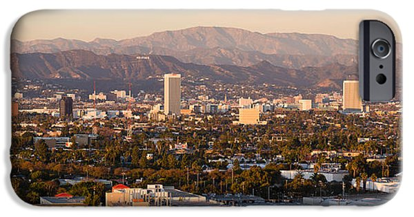 Miracle Photographs iPhone Cases - Buildings In A City, Miracle Mile iPhone Case by Panoramic Images
