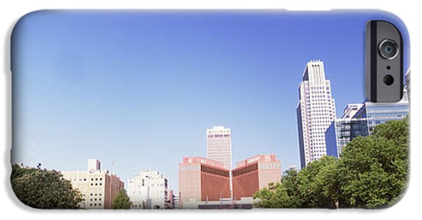 Nebraska iPhone Cases - Buildings In A City, Qwest Building iPhone Case by Panoramic Images