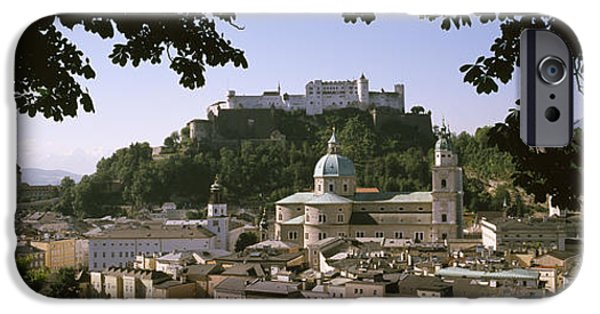 Salzburg iPhone Cases - Buildings In A City, Salzburg, Austria iPhone Case by Panoramic Images