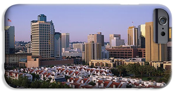 Flag iPhone Cases - Buildings In A City, San Diego iPhone Case by Panoramic Images