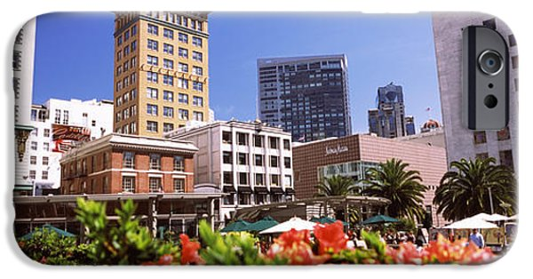 Built Structure iPhone Cases - Buildings In A City, Union Square, San iPhone Case by Panoramic Images