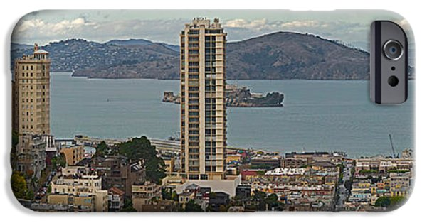 Alcatraz iPhone Cases - Buildings In A City With Alcatraz iPhone Case by Panoramic Images