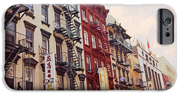 Escape iPhone Cases - Buildings In A Street, Mott Street iPhone Case by Panoramic Images