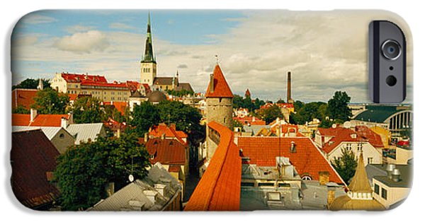 Estonia Photographs iPhone Cases - Buildings In A Town, Tallinn, Estonia iPhone Case by Panoramic Images