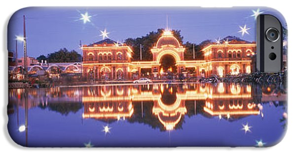 Pleasure iPhone Cases - Buildings In An Amusement Park Lit iPhone Case by Panoramic Images