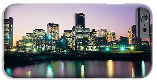 City. Boston iPhone Cases - Buildings Lit Up At Dusk, Boston iPhone Case by Panoramic Images