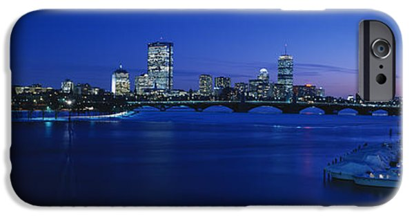 Charles River iPhone Cases - Buildings Lit Up At Dusk, Charles iPhone Case by Panoramic Images