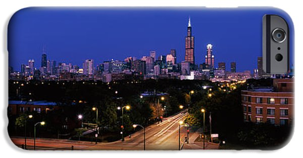 Sears Tower iPhone Cases - Buildings Lit Up At Dusk, Chicago iPhone Case by Panoramic Images
