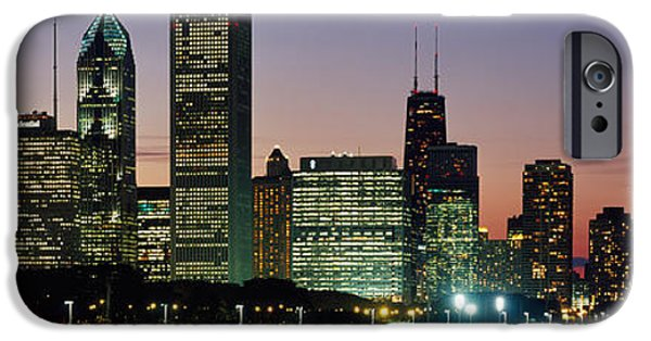 Built Structure iPhone Cases - Buildings Lit Up At Dusk, Lake iPhone Case by Panoramic Images