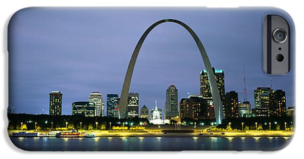 Locations iPhone Cases - Buildings Lit Up At Dusk, Mississippi iPhone Case by Panoramic Images