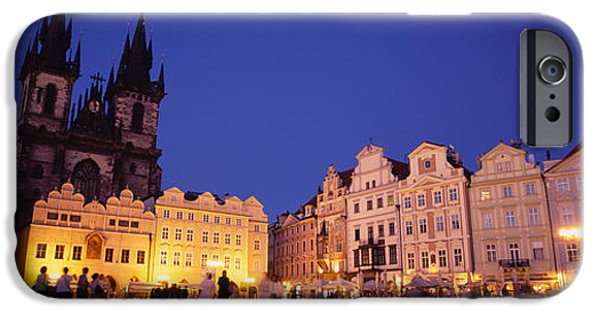 Town Square iPhone Cases - Buildings Lit Up At Dusk, Prague Old iPhone Case by Panoramic Images