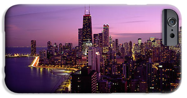 Sears Tower iPhone Cases - Buildings Lit Up At Night, Chicago iPhone Case by Panoramic Images