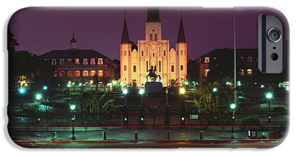 Built Structure iPhone Cases - Buildings Lit Up At Night, Jackson iPhone Case by Panoramic Images