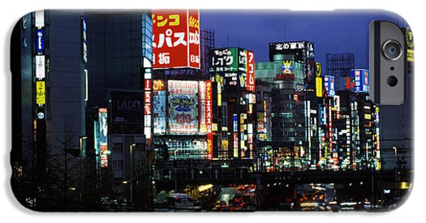 Shinjuku iPhone Cases - Buildings Lit Up At Night, Shinjuku iPhone Case by Panoramic Images