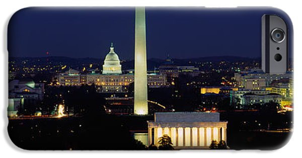 Capitol iPhone Cases - Buildings Lit Up At Night, Washington iPhone Case by Panoramic Images