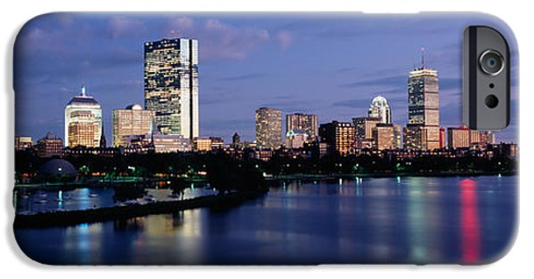 City. Boston iPhone Cases - Buildings On The Waterfront At Dusk iPhone Case by Panoramic Images