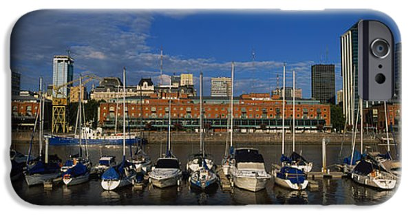 Reflections Of Sky In Water iPhone Cases - Buildings On The Waterfront, Puerto iPhone Case by Panoramic Images