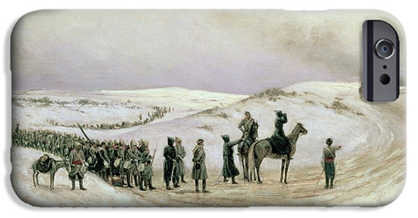 Campaign iPhone Cases - Bulgaria, A Scene From The Russo-turkish War Of 1877-78, 1879 Oil On Canvas iPhone Case by Mikhail Georgievich Malyshev