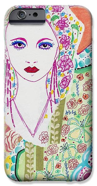 Watercolor With Pen Mixed Media iPhone Cases - Bulgarian Folk Girl iPhone Case by Rosalina Bojadschijew