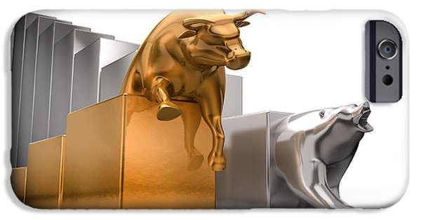 Finance iPhone Cases - Bull And Bear Economic Trends iPhone Case by Allan Swart