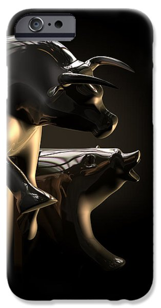 Business Digital Art iPhone Cases - Bull And Bear Stock Market Statues iPhone Case by Allan Swart