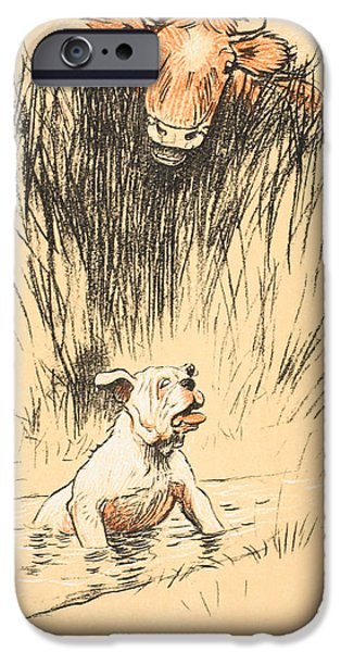 Man's Best Friend iPhone Cases - Bull and dog in field iPhone Case by Cecil Charles Windsor Aldin
