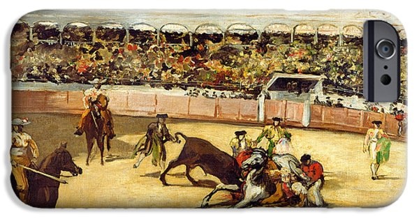 Gore iPhone Cases - Bull Fight, 1865 Oil On Canvas iPhone Case by Edouard Manet