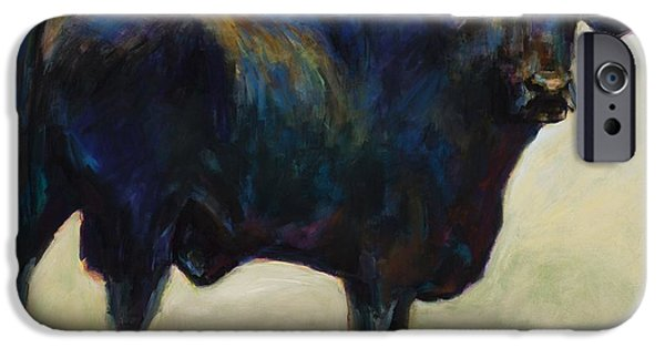 Black Angus iPhone Cases - Bull iPhone Case by Frances Marino
