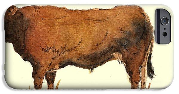 Steer Paintings iPhone Cases - Bull iPhone Case by Juan  Bosco