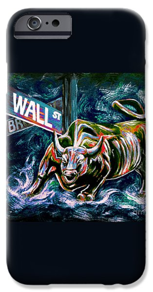 Bull Market Night iPhone Case by Teshia Art